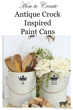How to Create Crock Inspired Paint Cans – The Crowned Goat How to Create Crock Inspired Paint Cans Decorating DIY Primitive Christmas, Rustic Christmas, Primitive Snowmen, Primitive Crafts, Christmas Christmas, Diy Craft Projects, Diy Crafts, Wood Crafts, Craft Ideas