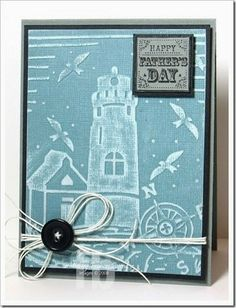 Happy Father's Day created by Frances Byrne using Couture Creations Seascape Embossing Folder | #couturecreations #embossingfolders #lighthouse #nautical #cards #male