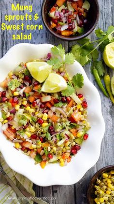 How to make healthy moong sprouts & sweet corn salad. Indian style moong sprouts salad recipe with step-by-step pictures. Veg Salad Recipes, Salad Recipes For Dinner, Sprout Recipes, Vegetarian Recipes, Cooking Recipes, Vegetarian Lunch, What's Cooking, Delicious Recipes, Yummy Food
