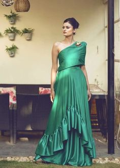 Off shoulder bottle green gown with ruffles Indian Cocktail Dress, Cocktail Wear, Cocktail Outfit, Cocktail Gowns, Sabyasachi Gown, Anarkali Suits, One Piece Gown, Dress Outfits, Casual Dresses