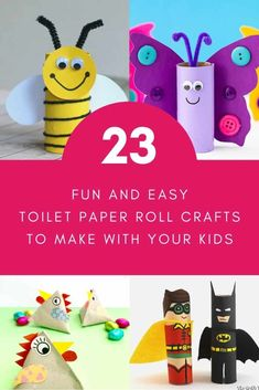 Make these fun and easy toilet paper roll crafts with your kids today! They'll love the toilet paper roll pirate and parrot, bees, butterflies, and more. Simple ideas for cardboard roll crafts your kids can make. Toilet Paper Roll Diy, Toilet Paper Roll Crafts, Painting For Kids, Art For Kids, Kid Art, Dot Painting, Craft Activities For Kids, Preschool Crafts, Craft Ideas