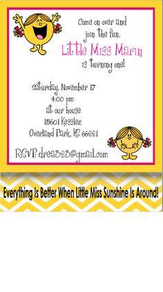 Printable Little Miss Sunshine Party Invitations - pdf file. $15.00, via Etsy.