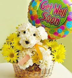 Wish someone to get better soon with a Sick As A Dog™ arrangement! #flowers #gift #carnations #white #yellow