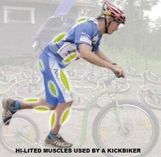 Muscle groups used when actively kickbiking.