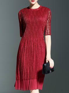 plissiertes+Kleid+Halbarm+Rundhals+-+dunkel+rot+50.06