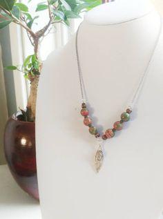 Unakite charm necklace by GemesisJewels on Etsy