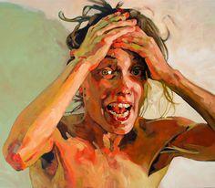 """OMG"" - Hanjo Schmidt, acrylic on canvas, 2007 {figurative #expressionist art female head hands woman face portrait cropped smudged grunge painting} hanjoschmidt.com"