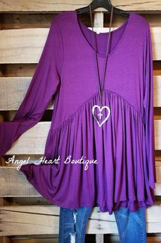 Straight From The Heart Tunic Long Sleeves - Eggplant