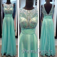 2015 elegant round neck beaded green chiffon v-back long prom dress, vintage ball dress for teens, cute bridesmaid dress, evening dress #promdress #wedding #coniefox