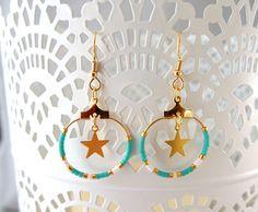 Boucles d'oreilles créoles étoile et perles Miyuki ★ turquoise : Boucles d'oreille par lili-azalee-bijoux