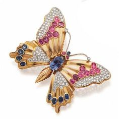 GOLD DIAMOND RUBY SAPPHIRE BUTTERFLY