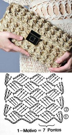 Crochet Clutch Pattern, Crochet Clutch Bags, Crochet Square Patterns, Crochet Tote, Crochet Handbags, Crochet Purses, Diy Crochet, Crochet Designs, Crochet Crafts