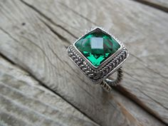 Green amethyst ring in sterling silver by Billyrebs on Etsy, $116.00