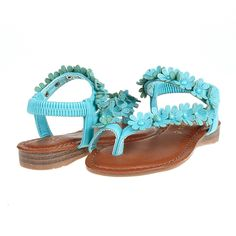 DREAM PAIRS GARDENIA Girl's Cute Flowers Embellished Elastic Strap Toe Ring Flat Summer Sandals -- A special outdoor item just for you. See it now!