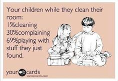 Children while they clean their rooms. #Parenting Humor