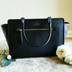 """Kate Spade North Court Anton Satchel Black A Nordstrom exclusive! Gorgeous, NWT Kate Spade North Court Anton structured satchel in an elegant, black pebbled- grain leather. 14K gold- plated hardware, magnetic snap closure, interior slip pockets (easily fits large smartphone) and signature print lining. Approx. 14"""" in length, 9"""" in height and 5.5"""" wide (3rd photo to show scale). Only a limited amount in circulation, sold out in stores and online! kate spade Bags Satchels"""