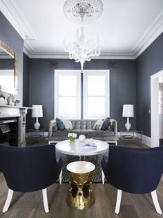 Grey living room, navy and gold accents