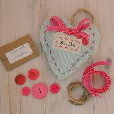 Vintage Stitched Fabric Heart Kit