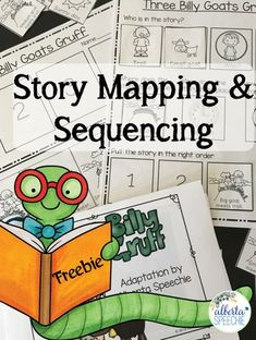 """Building literacy skills are very important for children with language delays. Build comprehension and sequencing skills using """"Three Billy Goats Gruff."""" Freebie includes an adapted story, story map worksheet and 2 sequencing worksheets."""