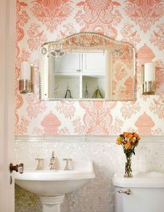 Wallpaper accent wall. Small bathroom. Love this unique style!
