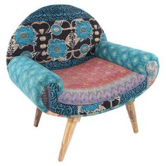 Bringwell-traveled styleto your living room or master suite with thishandmadeaccent chair, showcasinga multicolored hueand vintage cotton upholst...