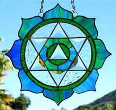 Stained glass heart chakra symbol <3