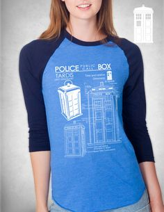 Tardis Blueprints Long Sleeve T Shirt Unisex