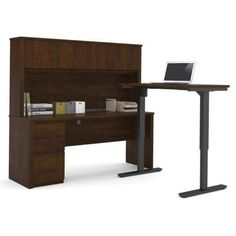 Bestar Prestige + L-Desk with Hutch Including Electric Height Adjustable Table, Multiple Colors, Brown