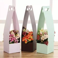 High Flower Girl Bucket Waterproof Floral Wraps Paper Bow With Handle Korean Florist Bouquet Packing Box Decoration cm How To Wrap Flowers, Diy Flowers, Handmade Flowers, Paper Flowers, Paper Bows, Flower Diy, Flower Packaging, Paper Packaging, Gift Packaging