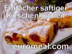 Leckerer Blechkuchen mit Kirschen belegt French Toast, Breakfast, Food, Morning Coffee, Essen, Meals, Yemek, Eten