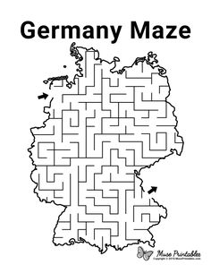 Mazes For Kids Printable, Worksheets For Kids, Free Printable, Preschool Activities At Home, Train Activities, Germany For Kids, Activity Sheets For Kids, German Language Learning, Montessori Education