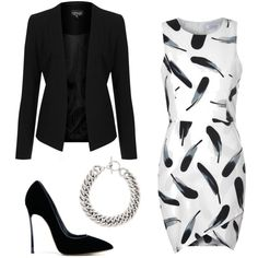 Black & White by carrie-verble on Polyvore featuring polyvore fashion style Glamorous Topshop Casadei Yves Saint Laurent