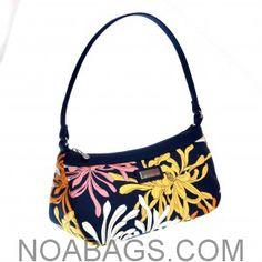 """Jim Thompson – """"Canvas Zip Purse"""" : Shoulder Baguette Bag Blue and Flowered"""