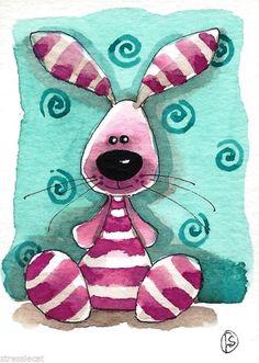 ACEO Original watercolor painting fantasy folk art whimsical animals pink bunny