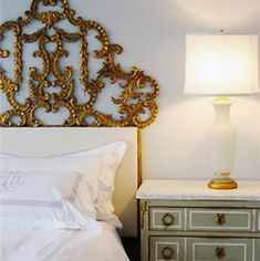 {this is glamorous} : adventures in love, design, fashion, home decor, food and travel: {happy monday + nate berkus} Shabby Chic Bedroom Furniture, Home Bedroom, Bedroom Decor, Master Bedrooms, Bedroom Designs, Nate Berkus, Gold Headboard, Headboard Ideas, Queen Headboard