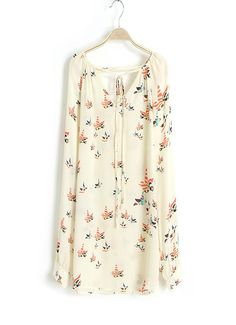 Birds Printed tied long-sleeved shirt