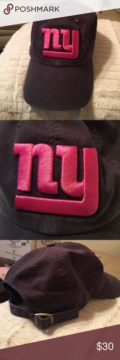 NY Giants Official NFL Cap NY Giants Official NFL Cap From the Women's line. It's like a denim material. Dark navy with vivid NY logo embroidered in a deep pink/raspberry color. Adjustable. 47 Brand but I don't know what that means 😂😂😂😂. Really cool and in perfect condition. Never worn. NFL Accessories Hats