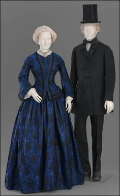 The Museum of Fine Arts exhibit, 'High Style and Hoop Skirts: 1850s Fashion,' is on display at the museum until March 15, 2005. Here, we see an American dress in two parts from about 1850, made with a jacquard-woven silk compound weave. The man's frock coat, also from the 1850s, is of wool, cotton, and quilted glazed broadcloth; the plush silk hat is French, from about 1840-1865, with a silk twill lining at the brim, a black grosgrain ribbon, and leather hat band.