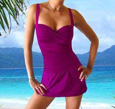 women's swimdress bathing suits | One Piece Swimwear Swimdress Bathing Suit Swim Skirt Swimsuit Size 12 ...
