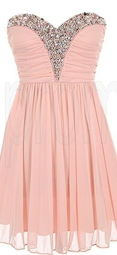 Pink Sweetheart Chiffon Sleeveless Short Prom Dress Beaded Evening Party Gown Cocktail Bridesmaid Dresses