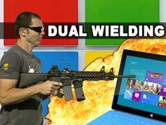 Microsoft Surface vs Dual Wielding M16 M4's - Tech Assassin - RatedRR: http://www.youtube.com/user/ratedrr