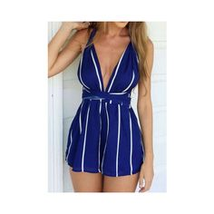 Deep Plunge Neck Vertical Striped Open Back Blue Jumpsuit ($25) ❤ liked on Polyvore featuring jumpsuits, blue, plunging v neck jumpsuit, plunge neck jumpsuit, plunging neckline jumpsuit, jumpsuits & rompers y blue jump suit