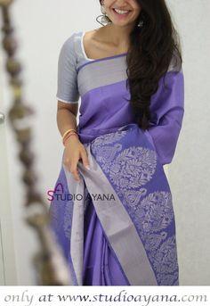 Lavender - Exquisite Kanjivaram Silk Saree from Studio Ayana! Simple Sarees, Trendy Sarees, Stylish Sarees, Half Saree Designs, Pattu Saree Blouse Designs, Indian Beauty Saree, Indian Sarees, Silk Saree Kanchipuram, Saree Trends