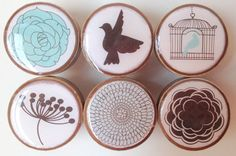 Drawer Knobs:  Turquoise and Brown Flower and Bird Knobs, Wood Knobs- 1 1/4 Inches - Set of 6