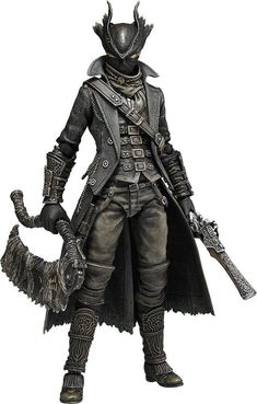 Cannonade, I like the pistol and style of clothes, the helmet is very interesting Max Factory figma 367 Bloodborne Hunter Male Character, Fantasy Character Design, Character Outfits, Character Concept, Character Inspiration, Bloodborne Outfits, Bloodborne Cosplay, Bloodborne Art, Star Citizen