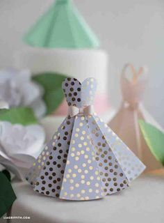 15 Paper Crafts Perfect for Bridal Showers: Paper Dress DIY Wedding Decorations
