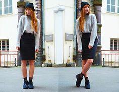 Malin Rouge - Rita&Phill Custom Made Pencil Skirt, Zara Sweater, Diy Beanie, Adidas Sneakers - Easy Office Buy Things Online, Office Looks, Sneakers Fashion, Custom Made, Leather Skirt, Adidas Sneakers, Zara, Skirts, Sweaters
