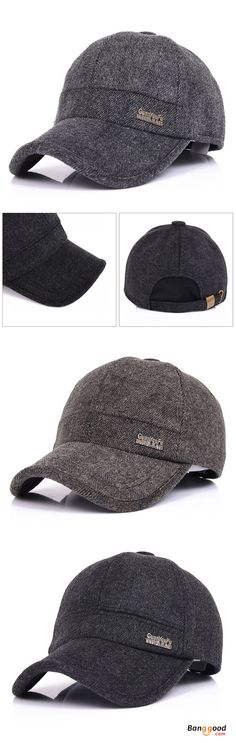 8a5f1a7a624 Mens Woolen Thicken With Ear Flaps Baseball Hats Adjustable Warm Snapback  Caps