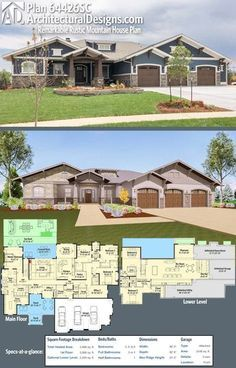 Needs some tweaks, but what a house. This Architectural Designs House Plan 64426SC comes to life! Rustic Mountain House Plan gives you nearly 4,000 square feet of living and an optional finished lower level giving you expansion possibilities. Ready when you are. Where do YOU want to build?