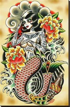 Sailor Made by Tyler Bredeweg Canvas Giclee Tattoo Art Tattooed Mermaid Pin Up Backpiece Tattoo, Catrina Tattoo, Tattoo Art, Portrait Tattoos, Tattoo Stencils, Full Sleeve Tattoo Design, Full Sleeve Tattoos, Tattoo Sleeves, Tattoo Design Drawings